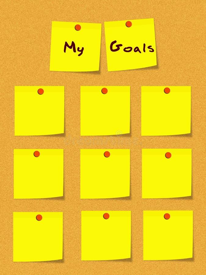 Meus objetivos amarelam notas pegajosas na placa de boletim ilustração stock