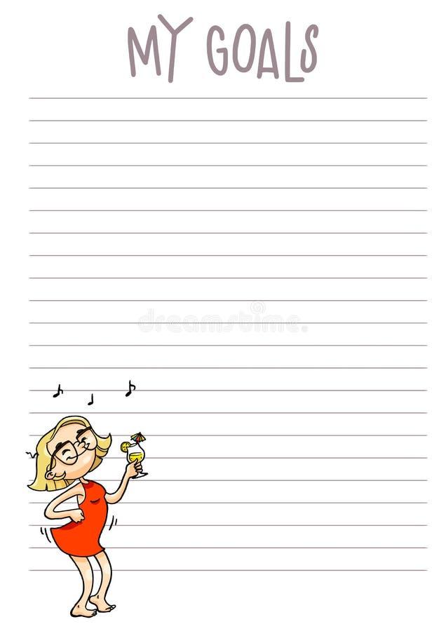 Meus objetivos diários, planejador semanal, mensal Organi imprimível do vetor ilustração do vetor