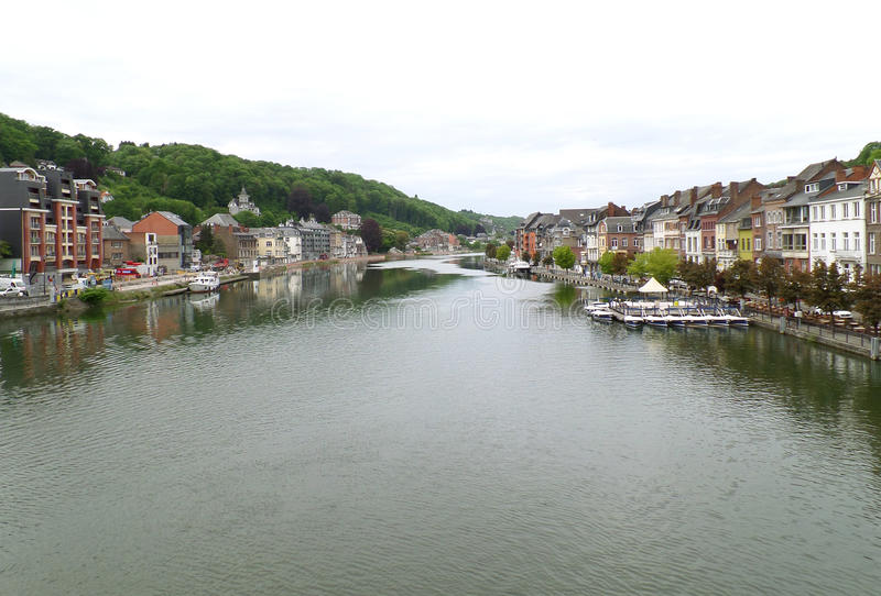 Meuse river at the impressive town of Dinant, Belgium royalty free stock images