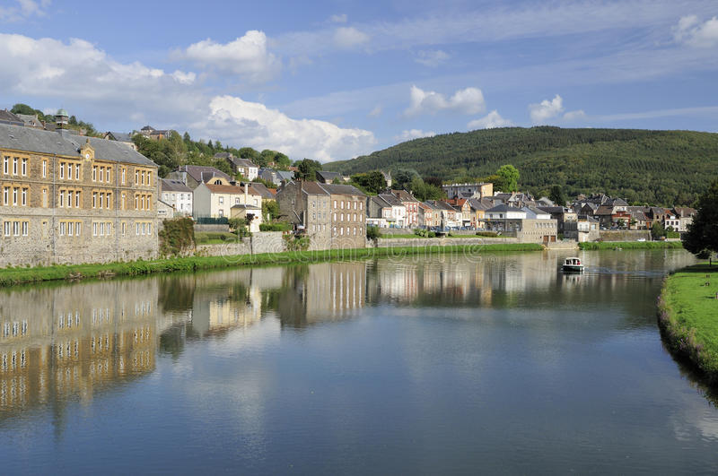 Meuse river at montherme', ardennes royalty free stock image