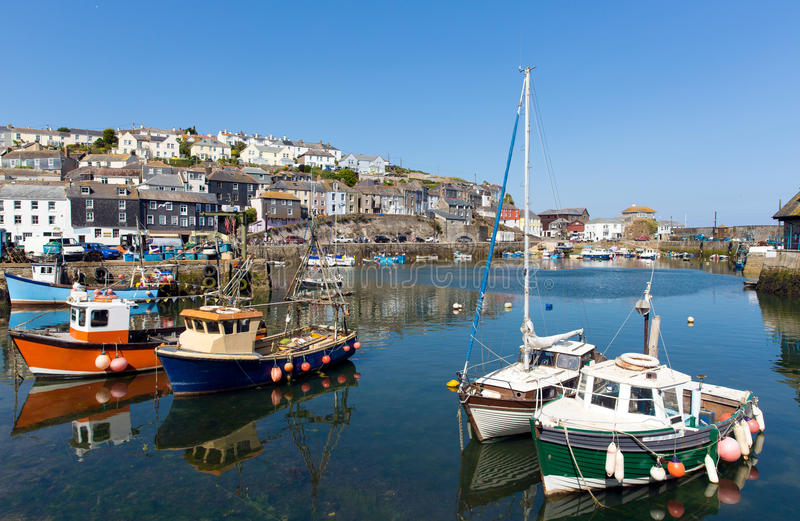 Mevagissey Cornwall England colourful boats in the harbour royalty free stock images