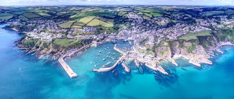 Mevagissey, Cornwall - Luchtmening stock afbeeldingen