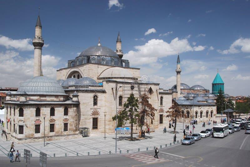 Mevlâna Müzesi and Mausoleum - Selimiye Mosque - Konya -. Selimiye Mosque and Mevlâna Müzesi (museum) and Mausoleum -Tomb of Mevlâna Jelaleddin royalty free stock images