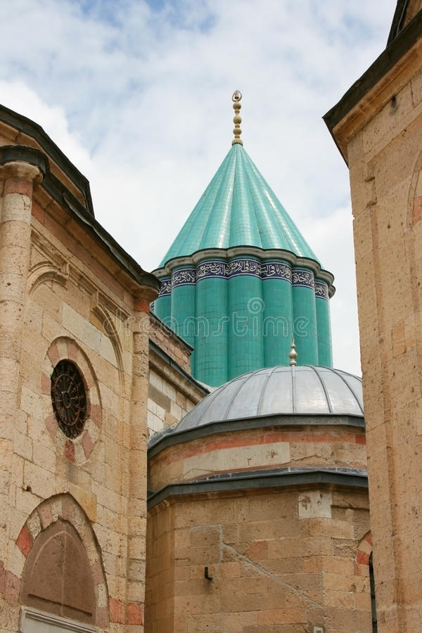 Mevlana Museum. The Mevlâna museum, located in Konya, Turkey, is the mausoleum of Jalal ad-Din Muhammad Rumi, a Sufi mystic also known as Mevlâna or Rumi stock photography