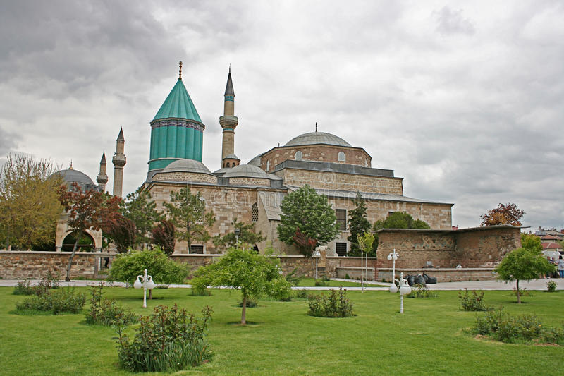 Mevlana Museum,Konya. The Mevlâna museum, located in Konya, Turkey, is the mausoleum of Jalal ad-Din Muhammad Rumi, a Sufi mystic also known as Mevlâna or royalty free stock images