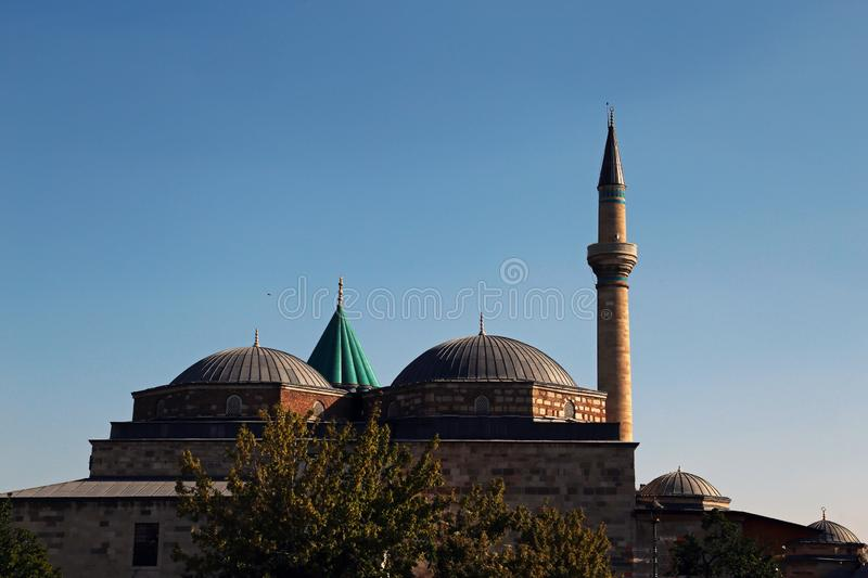 Mevlana Museum in Konya Turkey. A view outside the Mevlana Museum or the mausoleum of Jalal ad-Din Muhammad Rumi in Konya, Turkey royalty free stock photo