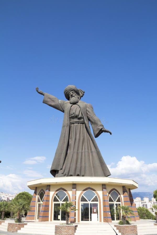 Mevlana Rumi, die derwisj wervelen royalty-vrije stock afbeeldingen