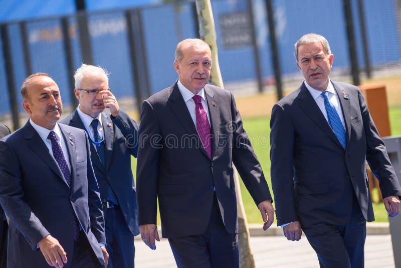 Mevlut Cavusoglu, minister Cudzoziemski - sprawy, Recep Tayyip Erdogan, prezydent Turcja Canikli i Nurettin, minister obrony obraz royalty free