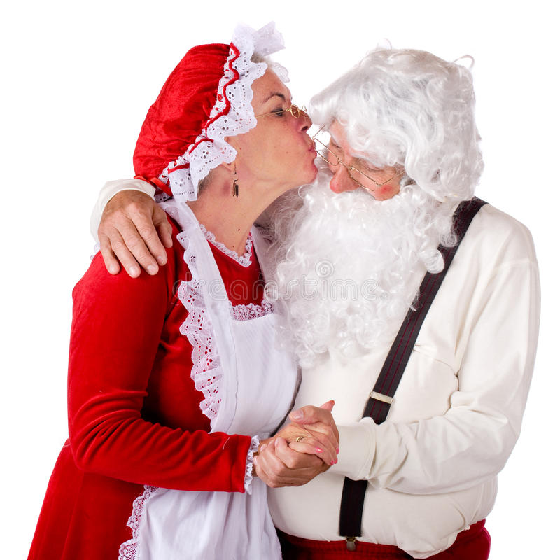 Mevr. Kissing de Kerstman stock fotografie