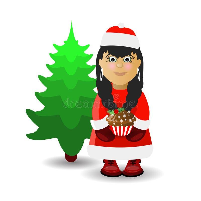 mevr. Santa Claus en Kerstmis royalty-vrije illustratie