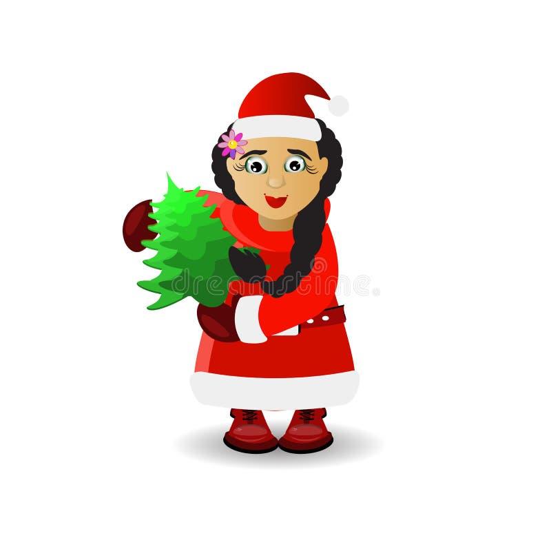 mevr. Santa Claus met een boom in haar handen vector illustratie