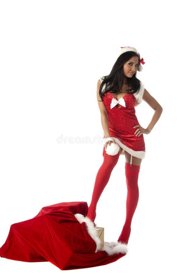 Mevr. Santa Snow Ball stock fotografie
