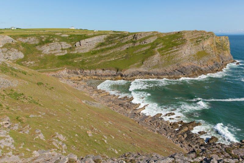 Mewsladebaai de Gower-kust van het schiereilandzuiden dichtbij Swansea Zuid-Wales het UK dichtbij aan Rhossili-strand en Dalingsb stock afbeeldingen