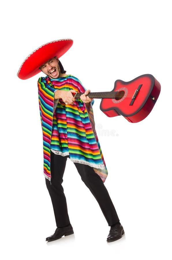 Mexicaan in de levendige gitaar van de ponchoholding royalty-vrije stock afbeelding