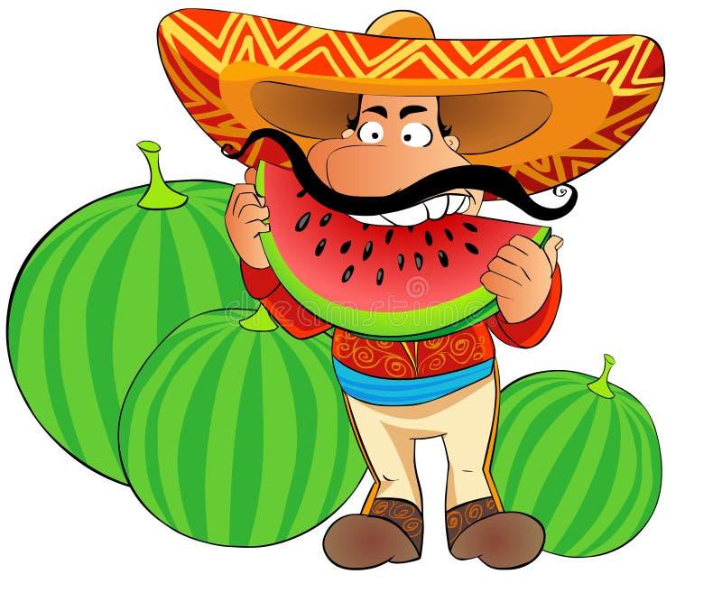 Mexicaan eet watermeloen stock illustratie