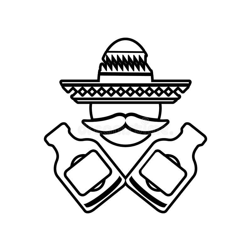 Mexicaan met flessenpictogram Element van Mexico voor mobiel concept en webtoepassingenpictogram Overzicht, dun lijnpictogram voo stock illustratie
