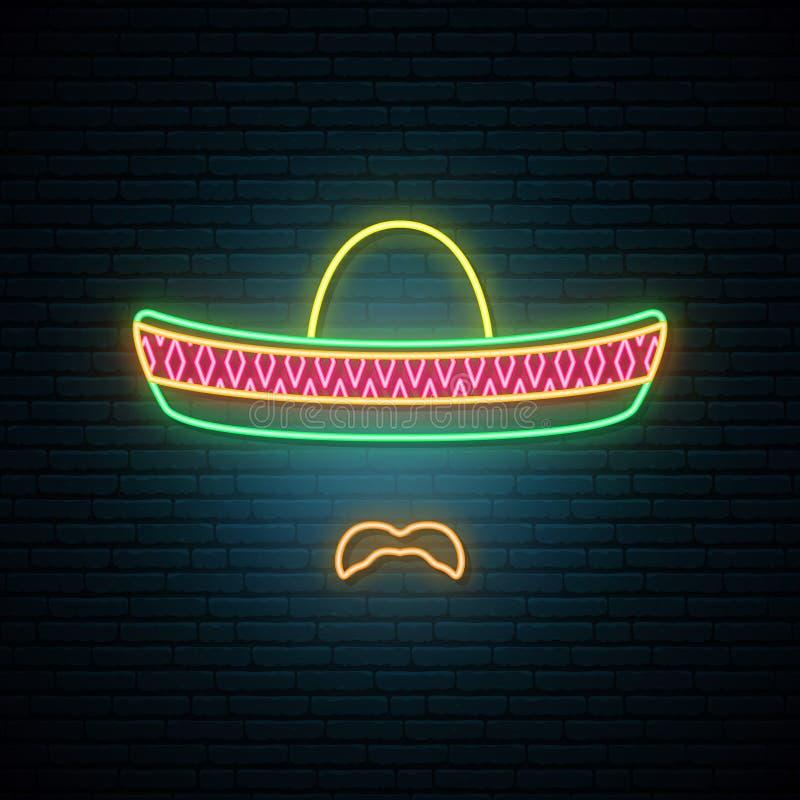 Mexicaan in nationale kleurrijke sombrero en met snor royalty-vrije illustratie