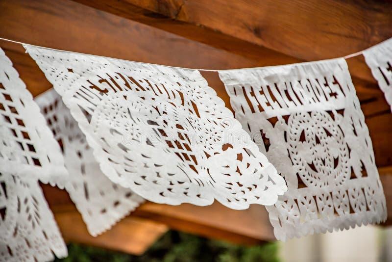Mexicaan sneed het huwelijksdecoratie van de papieren zakdoekjebanner stock foto