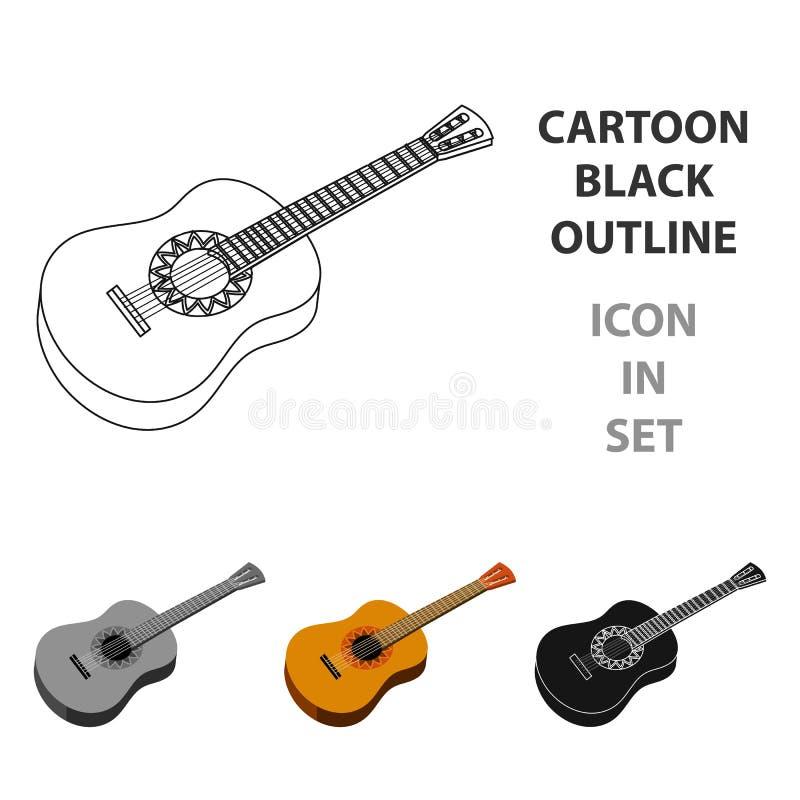 Mexicaans akoestisch die gitaarpictogram in beeldverhaalstijl op witte achtergrond wordt geïsoleerd De vector van de het symboolv stock illustratie