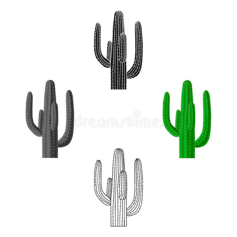 Mexicaans cactuspictogram in beeldverhaal, zwarte stijl die op witte achtergrond wordt geïsoleerd Van de het symboolvoorraad van  vector illustratie