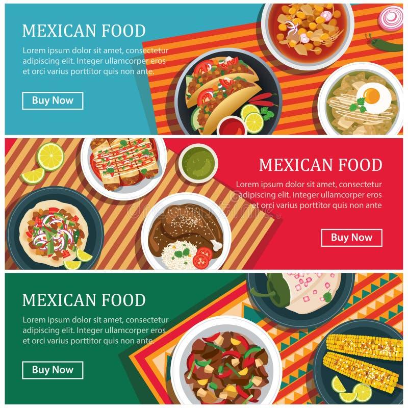 Mexicaans de banner vlak ontwerp van het voedselweb vector illustratie