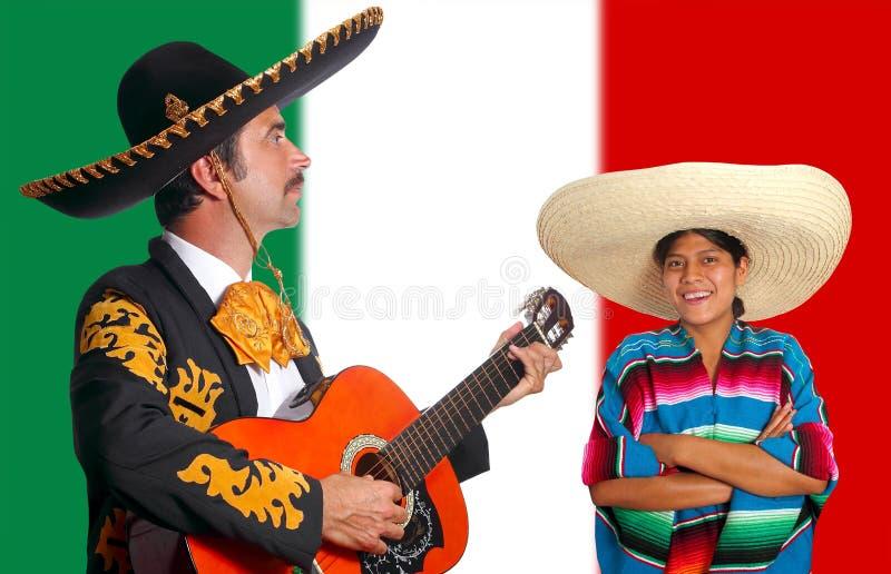 Mexicaans de mens van mariachicharro en van ponchoMexico meisje stock afbeelding