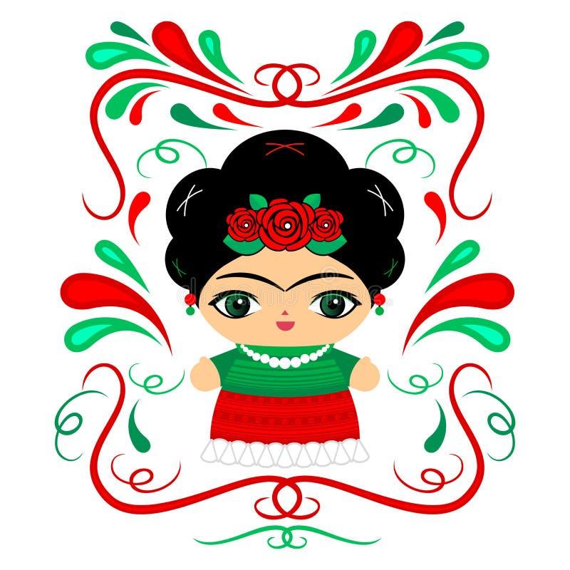 Mexicaans Doll met decoratieve vectorillustratie als achtergrond stock illustratie