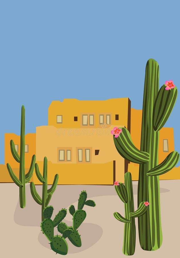 Mexicaans Dorp stock illustratie