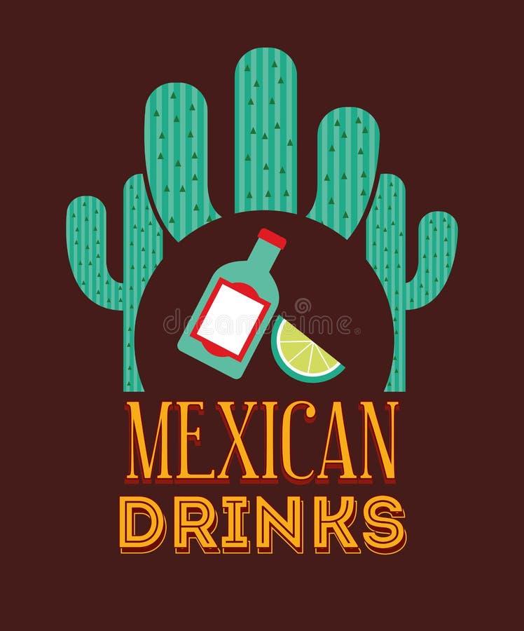 Mexicaans drankenontwerp stock illustratie