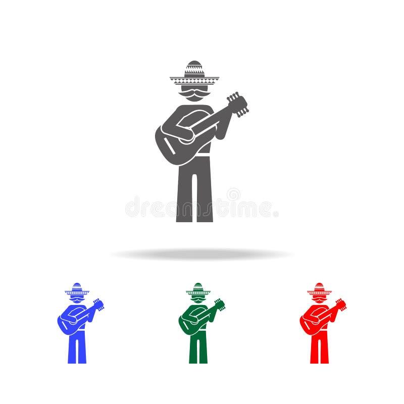 Mexicaans gitaristpictogram Elementen van cultuur van de multi gekleurde pictogrammen van Mexico Grafisch het ontwerppictogram va stock illustratie