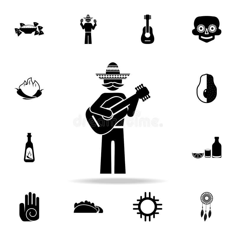 Mexicaans gitaristpictogram Gedetailleerde reeks de cultuurpictogrammen van elementenmexico Premie grafisch ontwerp Één van de in stock illustratie
