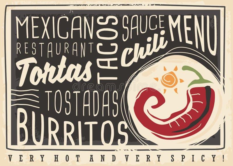Mexicaans het menuontwerp van het voedselrestaurant vector illustratie