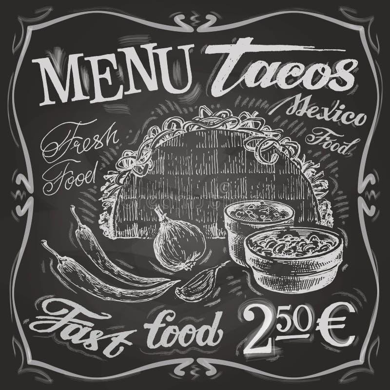 Mexicaans het ontwerpmalplaatje van het voedselembleem taco's, burritos royalty-vrije illustratie