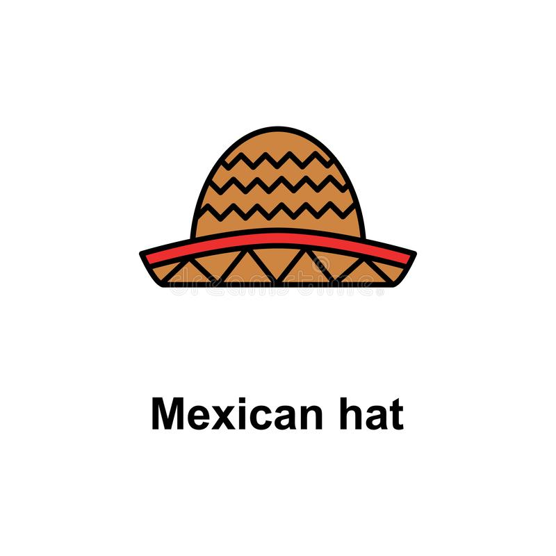 Mexicaans hoedenpictogram Element van Cinco de Mayo-kleurenpictogram Grafisch het ontwerppictogram van de premiekwaliteit Tekens  vector illustratie