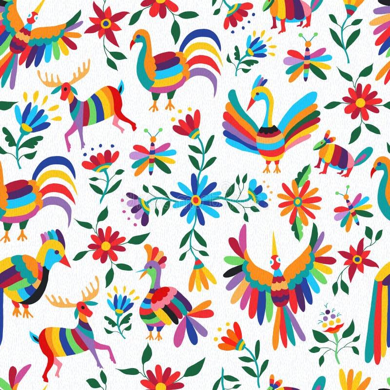 Mexicaans kunstpatroon met dier en bloemen royalty-vrije illustratie