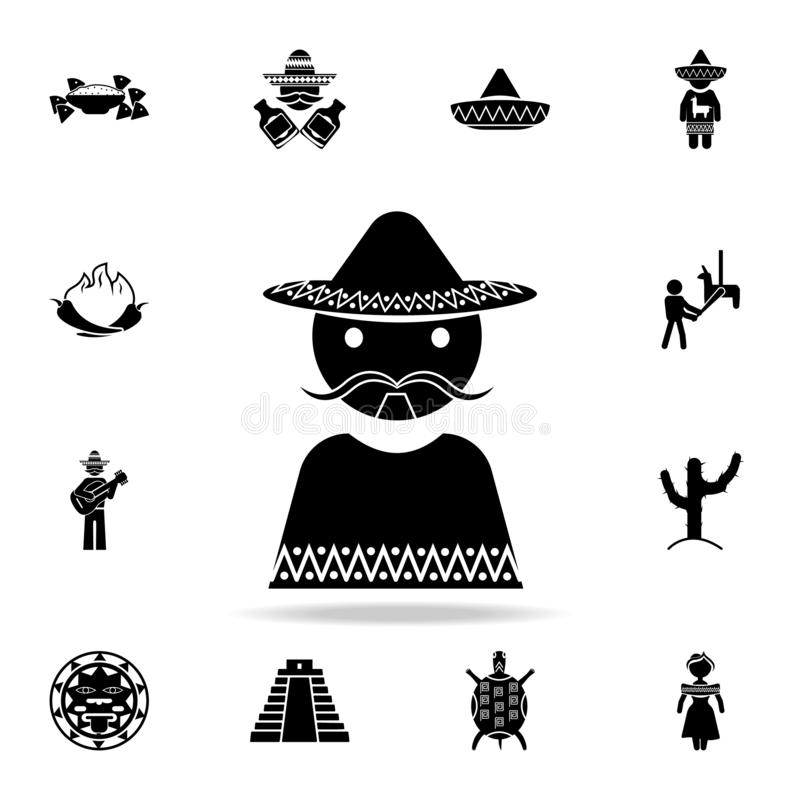 Mexicaans mensenpictogram Gedetailleerde reeks de cultuurpictogrammen van elementenmexico Premie grafisch ontwerp Één van de inza stock illustratie
