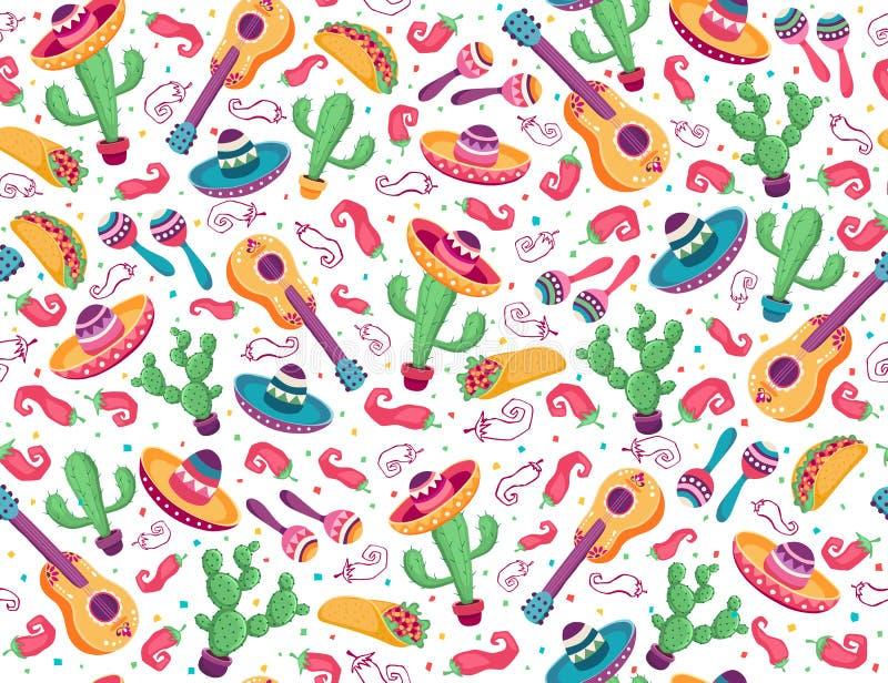 Mexicaans naadloos patroon met cactus en gitaar royalty-vrije illustratie