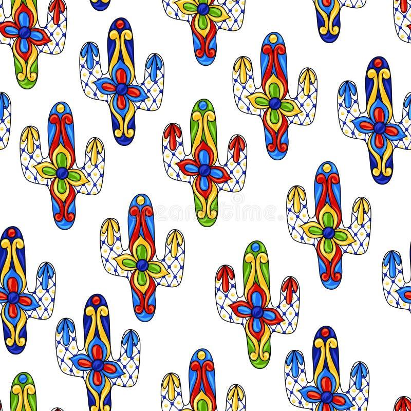 Mexicaans naadloos patroon met cactussen royalty-vrije illustratie