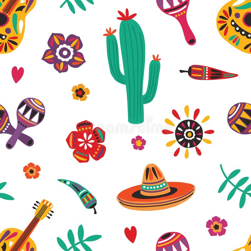 Mexicaans naadloos patroon met traditionele Mariachi-sombrero, gitaar, maracas, cactus, peper, bloemen op wit royalty-vrije illustratie