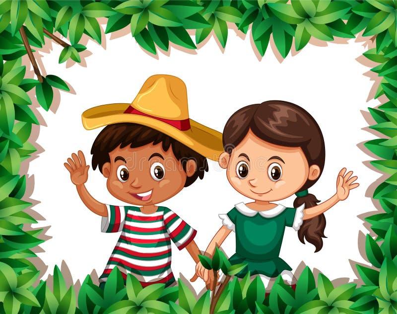 Mexicaans paar op aardkader vector illustratie