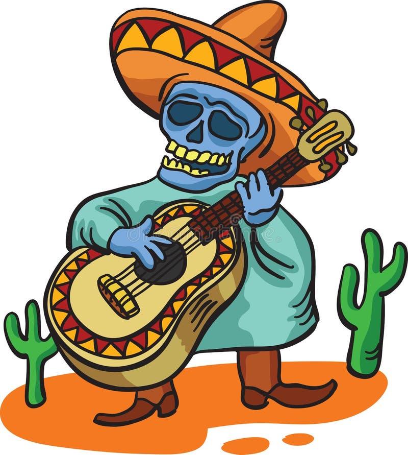 Mexicaans traditioneel karakter met gitaar royalty-vrije illustratie