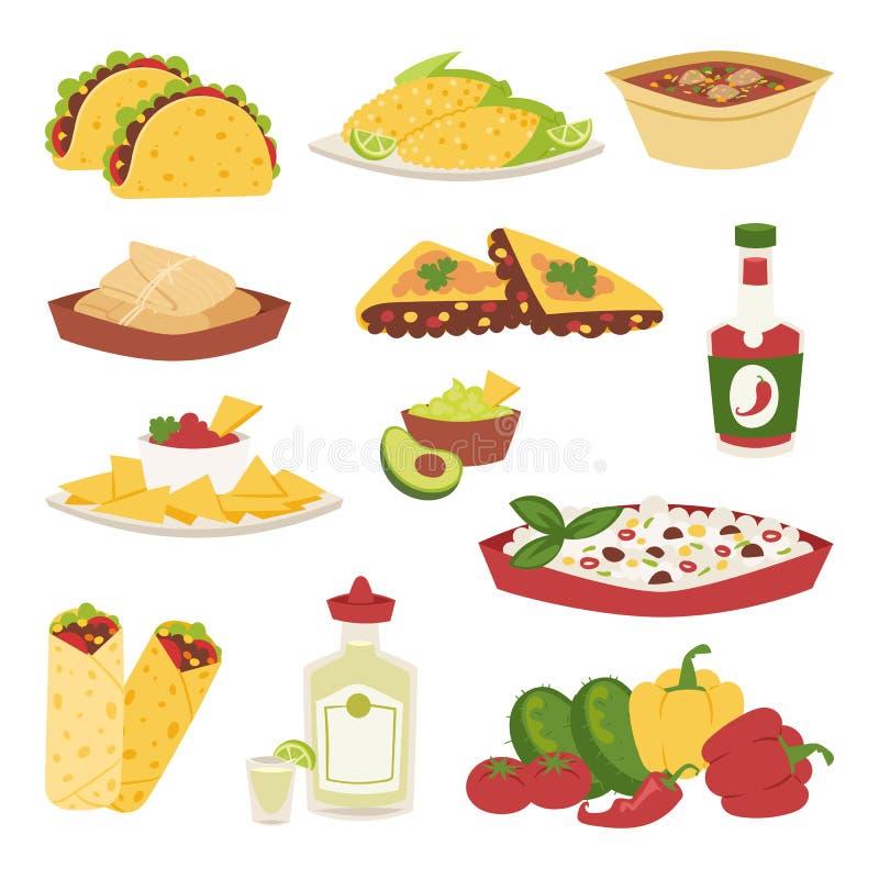 Mexicaans traditioneel voedsel met geïsoleerd tequilagraan van de vleesavocado en kruidig van de de lunchsaus van pepersalsa de k royalty-vrije illustratie