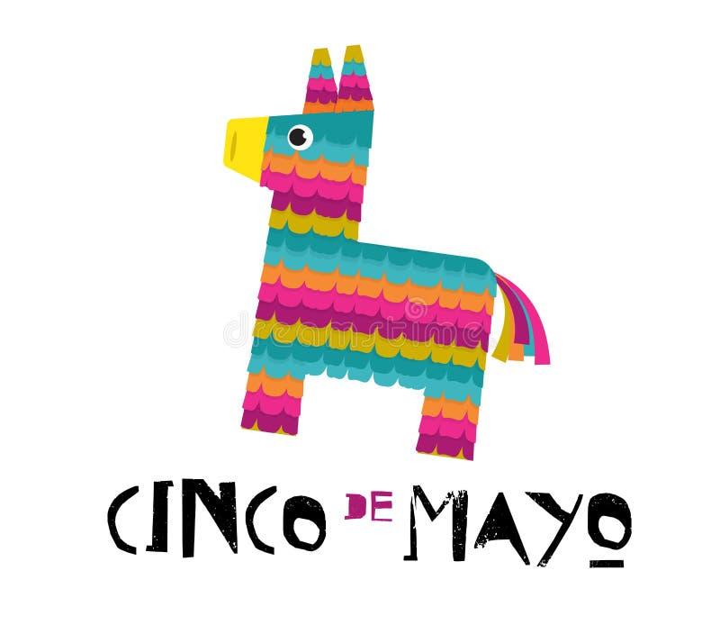 Mexicaans van de Fiestabanner en affiche ontwerp met ezelspinata, bloemen, decoratie stock illustratie