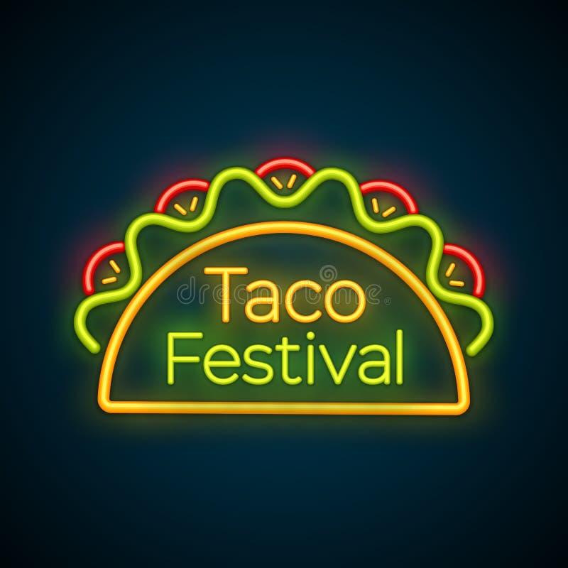 Mexicaans van het de barneonlicht van het taco'svoedsel het tekenembleem vector illustratie