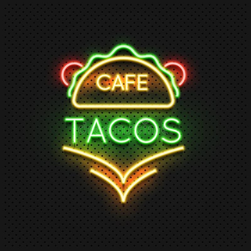 Mexicaans van het de koffieneon van voedseltaco's het tekenontwerp vector illustratie