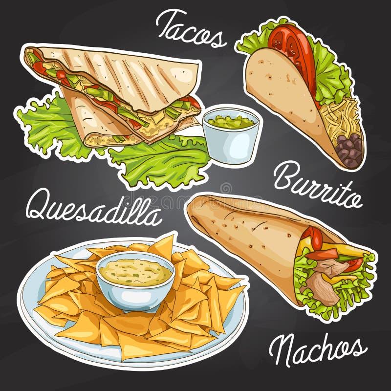 Mexicaans voedsel op een zwarte raad stock illustratie