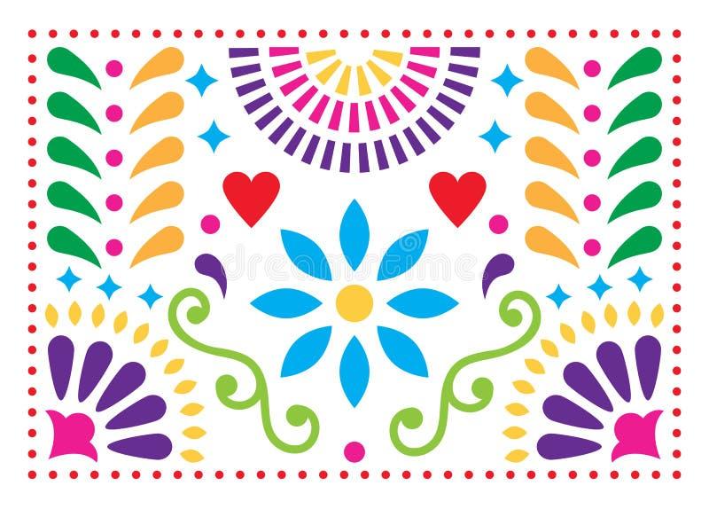 Mexicaans volkskunstpatroon, kleurrijk ontwerp met bloemen dat door traditionele kunstvorm Mexico wordt geïnspireerd royalty-vrije illustratie