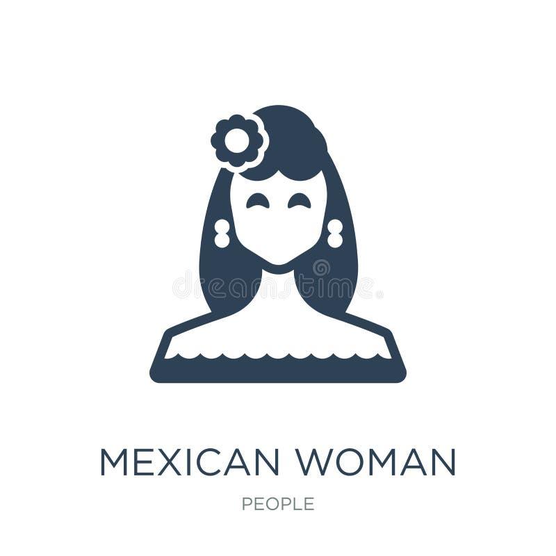 Mexicaans vrouwenpictogram in in ontwerpstijl Mexicaans vrouwenpictogram dat op witte achtergrond wordt geïsoleerd Mexicaans eenv vector illustratie