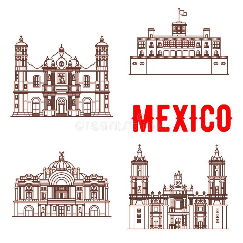 Mexicaanse architectuur vectorpictogrammen vector illustratie
