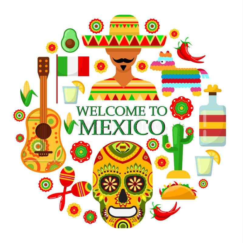 Mexicaanse attributen op witte achtergrond vector illustratie
